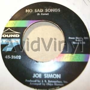 JOE SIMON - No Sad Songs / Come On And Get In Record