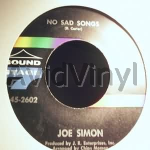JOE SIMON - No Sad Songs / Come On And Get In LP